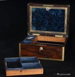 Antique Figured Rosewood Box with Rounded Edges and Lift-Out Tray, Circa 1840