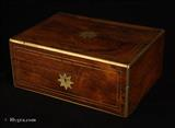 Antique Figured Rosewood Box with Brass edging and stringing the inside with lift-out tray Circa 1835