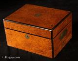 857JB: Antique Figured Rosewood box with brass Edging Circa 1850