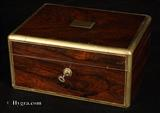 861JB: Antique Rosewood Box with Brass edging  by T. Briggs, Circa 1830.