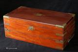 Antique  Brass Bound  Solid Mahogany triple Opening Writing Box With Side Drawer and secret drawers  Circa 1840