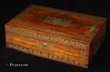 Antique Regency Brass Inlaid Rosewood Writing Box Circa 1825