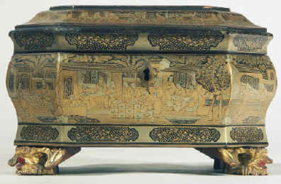 Chinese export lacquer tea chest with scenes of tea trading the interior fitted with metal canisters, circa 1840.  chtealac02.jpg (109954 bytes)