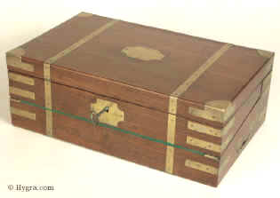 A Georgian Mahogany Triple Opening brass bound Writing Box circa 1815  Enlarge Picture
